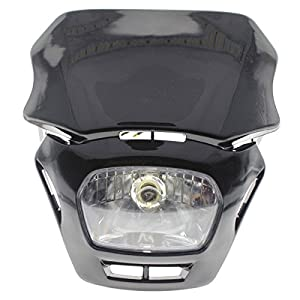 Rzmmotor Motorcycle Fairing Cowling Headlight 12V 20W Black for all Dual Sport Motorcycles Dirt Bikes Street Fighter Naked Motorcycles