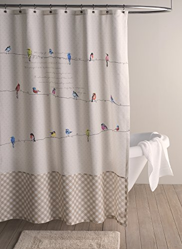 Maison d' Hermine Birdies On Wire 100% Cotton Shower Curtain 72 Inch by 72 Inch - Designed in Europe Machine washable Package includes : 1 shower curtain without hooks - shower-curtains, bathroom-linens, bathroom - 51Ii4vXAM6L -