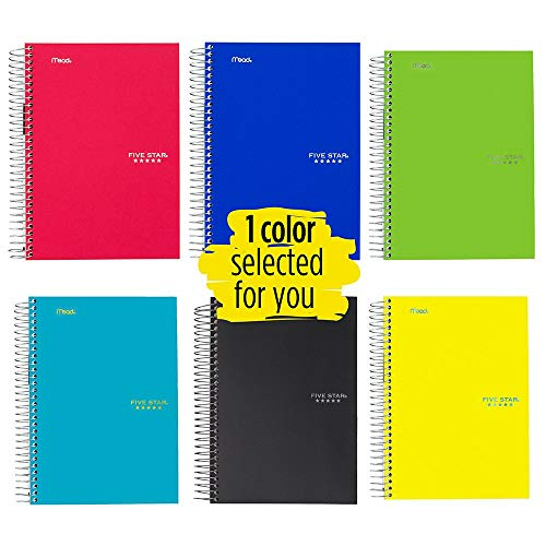 (Five Star Spiral Notebook, 5 Subject, College Ruled Paper, 180 Sheets, 9-1/2