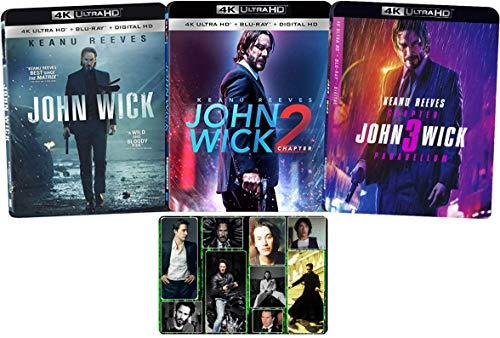 John Wick: Chapters 1-3 Complete 4K Ultra Keanu Reeves Movie Series with Bonus Glossy Art Print