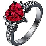 Women Fashion Jewelry 925 Sterling Silver Red Ruby Gemstone Wedding Ring New (6)
