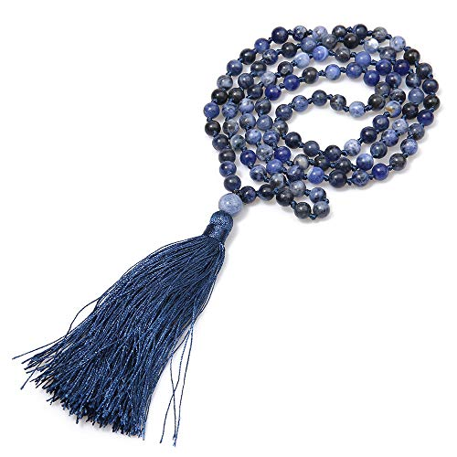 BALIBALI 6MM Mala Beads Necklace Natural Stone Meditation Statement Necklace Japa Yoga Rosary Prayer Charm Beaded Tassel Necklace -