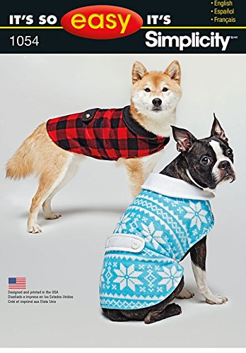 Simplicity Pets Easy Sewing Pattern 1054 Dog Coats Amazon Co Uk