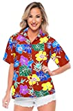 LA LEELA Women Plus Size Hawaiian Regular Fit Short Sleeve Tunic Shirt Printed D