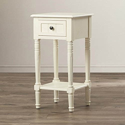 End Table with Storage Drawer, Indoor Plant Stand, Living Room Decor, Colored (Antique White)