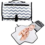 Baby Portable Changing Pad - Jr.White Foldable Diaper Changing Mat-Travel Accessories with Mesh and Zippered Pockets Wipes Case Bag-Waterproof Stroller Organizer, Detachable Changing Station Kit