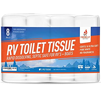 Firebelly Outfitters RV Toilet Paper, Septic Tank Safe - 8 Pack, 2-Ply, 500 Sheets - Fast Dissolve Bath Tissue for Camping, Marine, RV Holding Tanks, Reduces Camper Sewer System Clogs, Biodegradable