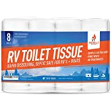 Firebelly Outfitters RV Toilet Paper, Septic Tank Safe - 8 Pack, 2-Ply, 500 Sheets - Fast Dissolve Bath Tissue Camping, Marine, RV Holding Tanks, Reduces Camper Sewer System Clogs, Biodegradable