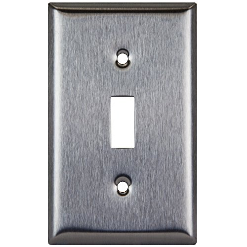 Enerlites 7711 Toggle Switch Stainless Steel Wall Plate 1-Gang, Standard Size, 430 Grade Metal Plate Alloy Corrosive Resistant Cover for Rotary Dimmers Lights