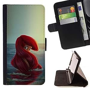 - Mermaid Redhead Ocean Children'S Girl - - Prima caja de la PU billetera de cuero con ranuras para tarjetas, efectivo desmontable correa para l Funny HouseFOR Apple Iphone 4 / 4S