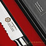 Kessaku 5.5-Inch Serrated Utility Knife - Samurai Series - High Carbon 7Cr17MoV Stainless Steel with Blade Guard 14 SAMURAI SERIES - Kessaku professional knives are well suited to tackle all your culinary needs. Our knives are hand crafted by our highly trained technicians utilizing cutting edge technology and the finest materials. Designed in Japan, our Kessaku knives will be a staple in your kitchen and will become your 'Go To' knife. Experience the difference owning a true Chef's knife can make. You have joined countless chefs and true cooking enthusiasts who already own this professional knife. PREMIUM CONSTRUCTION - Utilizing our specially formulated High Carbon 7CR17MOV Stainless Steel your knife is constructed to be very resistant to corrosion and rust. The mirror polished, smooth pakka wood handle offers superior strength and comfort while its seamless build ensures no dirt or debris collects on your knife. The pakka wood handle is heat, cold, and moisture resistant and has a full tang for added strength. Kessaku means masterpiece in Japanese and that is what you will be receiving. COMFORT AND DESIGN - We design our knives to be well balanced so you won't feel dragged down. The knife's ergonomics helps reduce aches and fatigue in your hands. The precision forged, razor sharp blade is hand sharpened by a 16° angle per side making for a sharper, longer lasting blade edge. With a Rockwell hardness of 58 you are sure to receive a strong and durable blade. A good knife is an extension of your hand and so you should choose one that makes the work feel effortless.