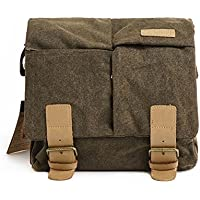 Peacechaos Vintage Canvas Leather Trim DSLR SLR Shockproof Camera Shoulder Messenger Bag