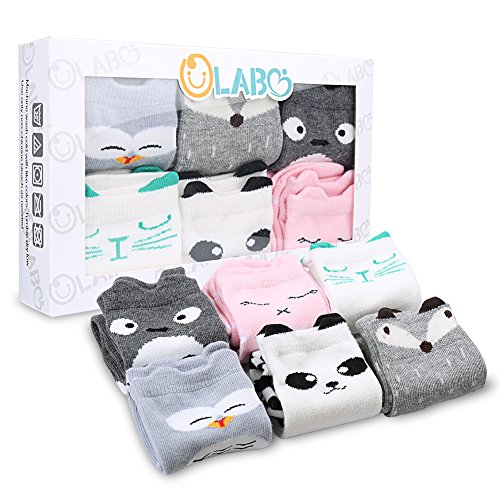 OLABB Unisex Baby Socks Knee High Stockings Animal Theme 6 Packs Gift Set, Animals A, M 1-3T]()