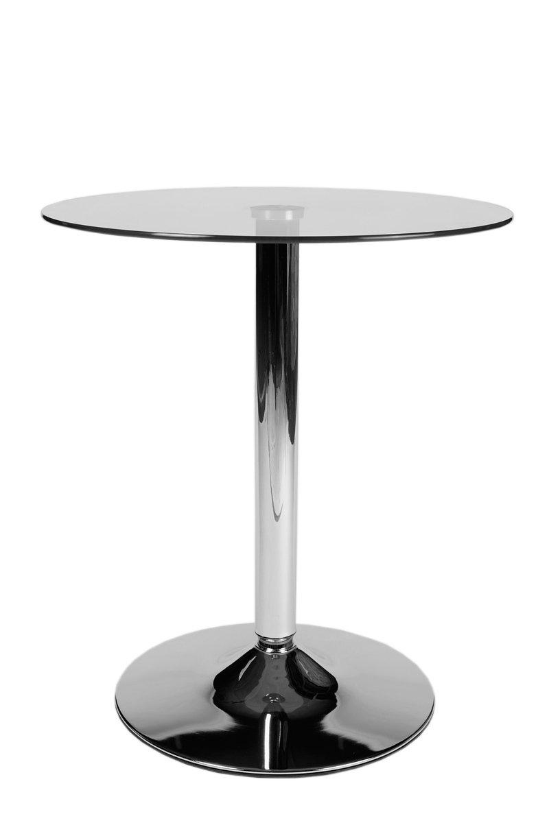 tavolino dappoggio moderno da salotto Vetro Chiaro CLP Tavolo in vetro rotondo diametro 60 cm tavolo da bar con piedistallo in metallo cromato altezza 70 cm piano del tavolino in vetro di sicurezza