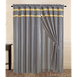 New Gray/Yellow Curtain Panel Window Covering Drapes