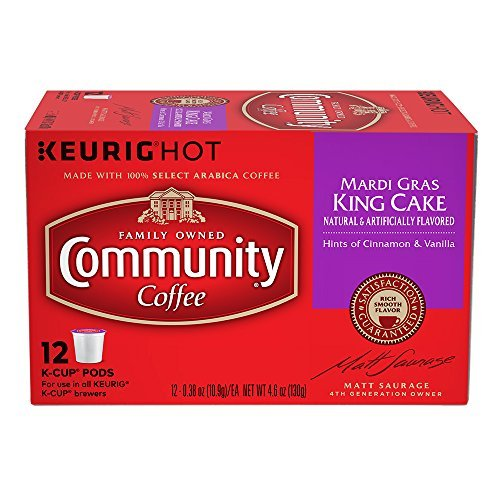 Community Coffee Mardi Gras King Cake K-Cups, 24 Count
