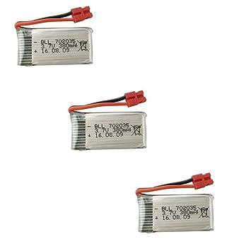 Fytoo 3PCS 3.7V 380mAh Lipo batería para SYMA X5A-1 SYMA X15 X15C ...