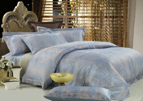 Dolce Mela DM448Q Fountain-Blue 6-Piece Percale Jacquard Cotton Duvet Cover Set, ()