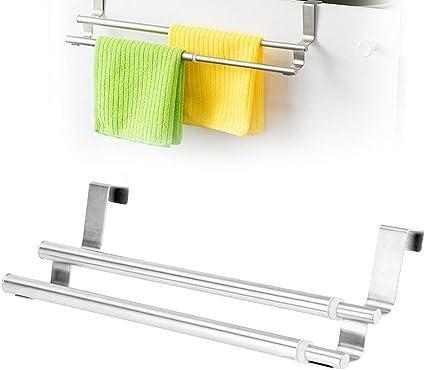 Over Door Double Layers Towel Bar Stainless Steel Telescopic Towel Racks Holder Hanger Organizer Wall Mounted Towel Rail For Bathroom Kitchen Amazon Co Uk Kitchen Home