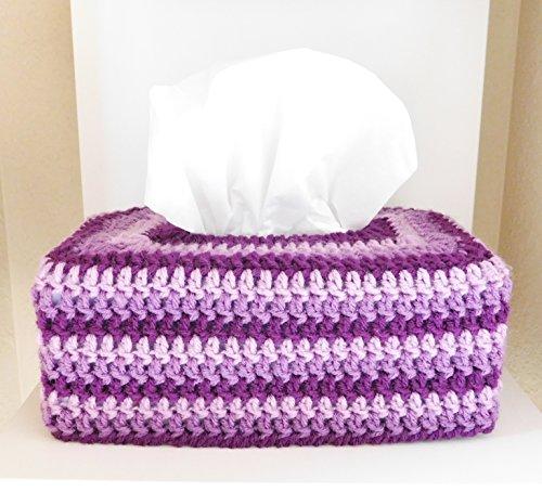 Crochet Tissue Box Cozy, Bathroom Accessory, Purple Stripes- Rectangle