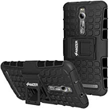 Amzer Impact Resistant Hybrid Warrior Case with Kickstand for Asus Zenfone 2 ZE550ML, Asus Zenfone 2 ZE551ML - Retail Packaging - Black