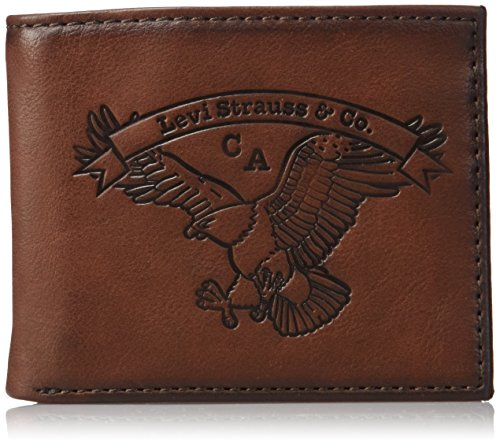 Levi's Men's Slim Bifold Wallet - Genuine Leather Casual Thin Slimfold with Extra Capacity and ID Window, Brown Eagle, One sizee