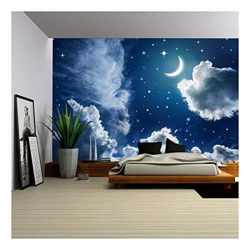 - wall26 - Night Sky with Stars and Moon - Removable Wall Mural | Self-Adhesive Large Wallpaper - 100x144 inches
