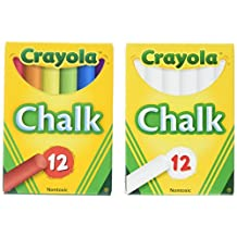 Crayola Non-toxic White Chalk and Colored Chalk Bundle (2 Boxes)