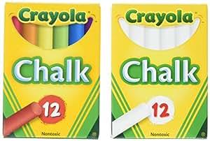 Crayola Non-Toxic White Chalk(12 ct box)and Colored Chalk(12 ct box) Bundle
