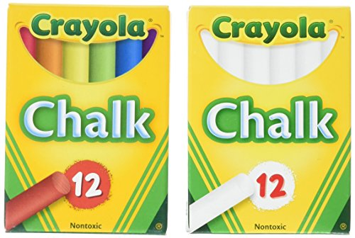 Side Box Boards (Crayola Non-Toxic White Chalk(12 ct box)and Colored Chalk(12 ct box) Bundle)
