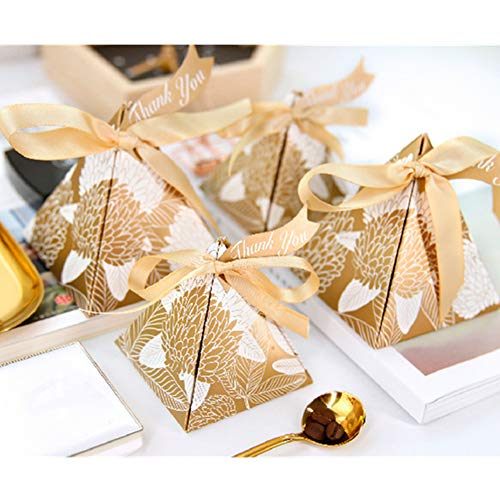 100 Pcs Pink Yellow Gold Blue Red Triangular Pyramid Leaves Wedding Favors Candy Boxes Baby Shower Box Thanks Day Party Gift Box
