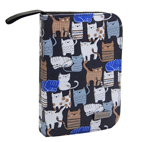 Teamoy Crochet Hook Case, Travel Carry Bag for Ergonomic Crochet Hooks Kits, Aluminum Crochet Hooks, Steel Crochet Hook and More, Lightweight, Well Made-No Accessories Included, Cats Blue by Teamoy
