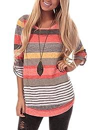 Womens Striped Sweatshirt Tunic Tops Long Sleeve Casual Crew Neck T Shirt Top Blouse