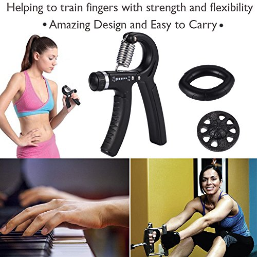 Angela&Alex Hand Strength Trainer, Hand Exerciser Kit - 5 Pack - Hand Gripper Adjustable Resistance 22-88Lbs, Finger Exerciser, Finger Stretcher, Exercise Ring Resistance 60LBS, Package Bag by Angela&Alex (Image #2)