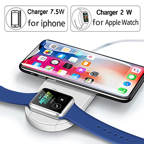 Wireless Watch Charger,Phone Wireless Charger,Qi Wireless Charging Pad Stand,2-in-1 Wireless Fast Charger for Apple Watch Series 3/2/1 & iPhone X/8/8 Plus Samsung Galaxy S8/S9/Plus/Note 8/S7 by ZXICH
