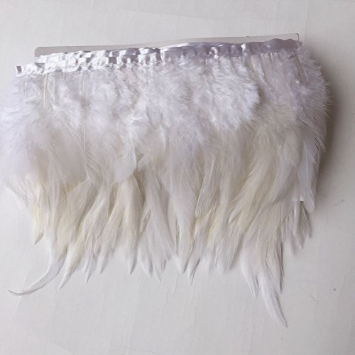 Sowder Rooster Hackle Feather Fringe Trim for Custume Dress Decoration Pack of 5 Yards(White)]()