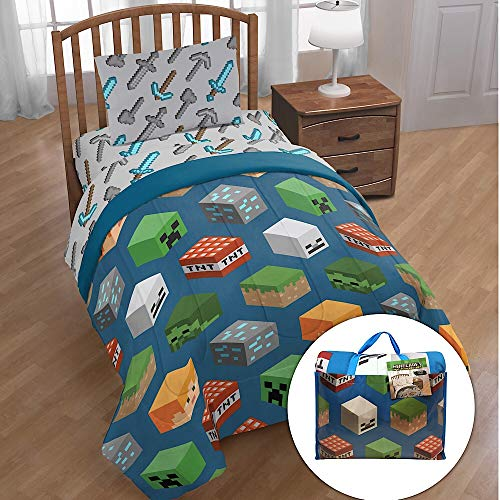 Minecraft 4 Piece Twin Bed Set with Tote Bag ()