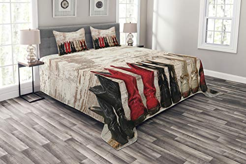 Ambesonne Western Bespread Set Queen Size, American Legend Cowgirl Leather Boots Rustic Wild West Theme Cultural Print, Decorative Quilted 3 Piece Coverlet Set with 2 Pillow Shams, Beige Red