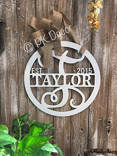 Personalized Last Name Door Hanger ACM Metal Sign Monogram Gifts For Women Split Letter Wreath Established Family Decor Initial QUICK SHIPPING 18 in (Welcome Signs Front Personalized Door)