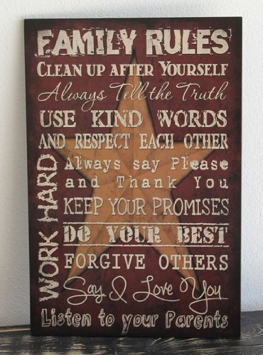 Primitive Wall Decor Wood Sign, Family Rules, Red