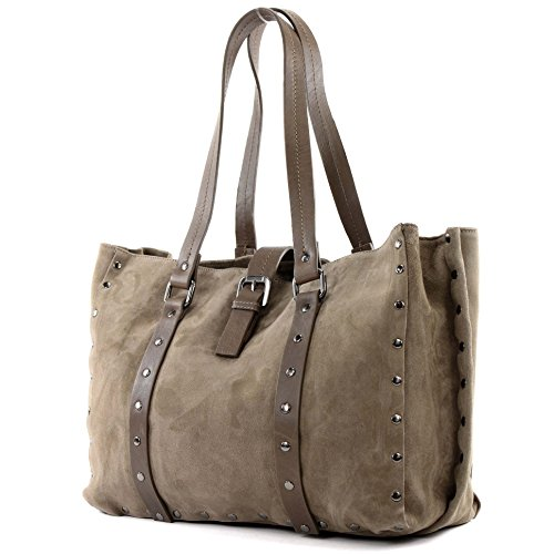 modamoda de - ital. Handtasche Tasche Damentasche Schultertasche Ledertasche Shopper Nappaleder Wildleder Nieten T89 Dunkeltaupe/Wildleder