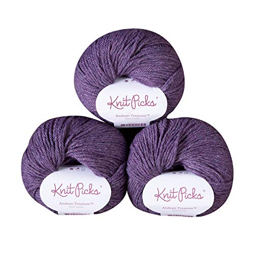 (Knit Picks Andean Treasure Baby Alpaca Sport Weight Yarn - 3 Pack with Free Patterns (Royal Heather))