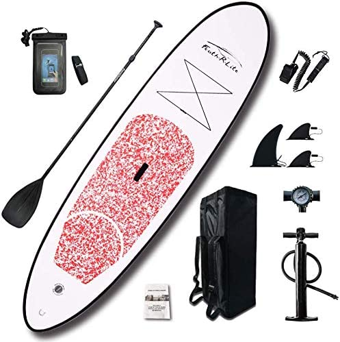 FEATH-R-LITE Inflatable 10 30 6 Ultra-Light 17.6lbs SUP for All Skill Levels Everything Included with Stand Up Paddle Board, Adj Paddle, Pump, ISUP Travel Backpack, Leash, Waterproof Bag