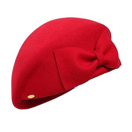 Chengzuoqing Boina de Las Mujeres Accesorio del Traje del Sombrero de la  Boina Francesa de los bfbb10927f9