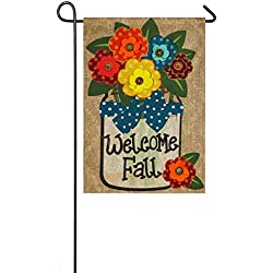 Evergreen Welcome Fall Outdoor Safe Double-Sided Burlap Garden Flag, 12.5 x 18 inches