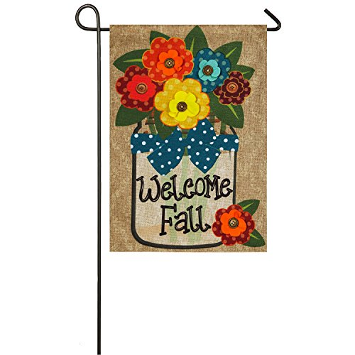 Evergreen Welcome Fall Outdoor Safe Double-Sided Burlap Gard
