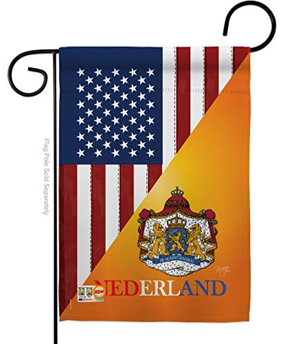 """Breeze Decor - US Dutch Friendship Flags of The World - Everyday US Friendship Impressions Decorative Vertical Garden Flag 13"""" x 18.5"""" Printed in USA from Breeze Decor"""