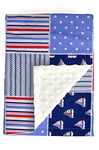 Minky Baby Blanket - Navy Sea Ship plush baby blanket 30x40 - soft swaddle baby blanket - baby boy minky blanket Boats Sleep Mat