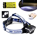 Garberiel 8000 Lumens 5 Bulbs LED Headlamp White Light 5 Modes LED Headlamp Waterroof Shock-Resistant Adjustable Light-Weight Head Lamp Include 2 x Rechargeable Battery and USB Cable