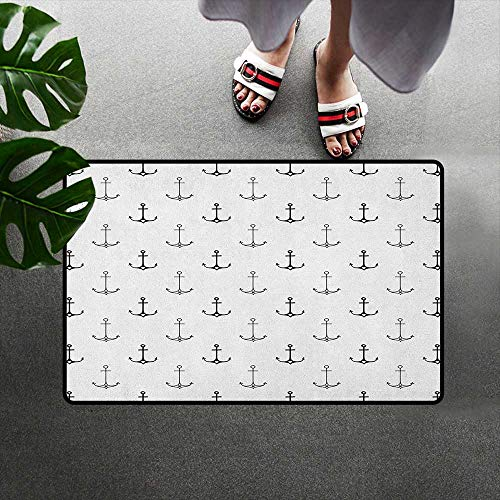 alilihome Bath Mat Non Slip Indoor/Outdoor/Front Door/Bathroom Mats Rubber Non Slip W19 x L31 INCH Anchor,Monochrome Figures with Little Hearts Hipster Hand Drawn Tattoo Art Style Retro, Black White